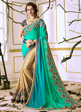 Cream N Aqua Green Half N Half Saree