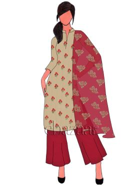 Cream N Barbados Cherry Flared Palazzo Suit