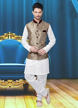 Cream N Beige Art Silk Brocade Nehru Jacket
