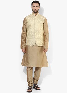 Cream N Beige Benarasi Cotton Silk Bandi Set