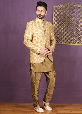 Cream N Beige Jodhpuri Style Indowestern Sherwani