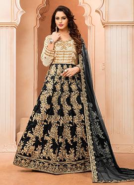 Cream N Black Art silk Anarkali Suit