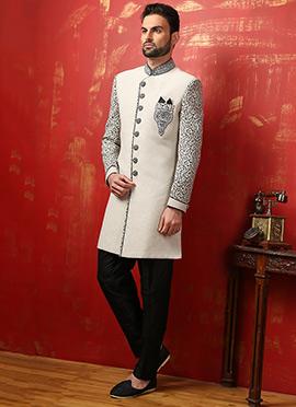 Cream N Black Benarasi Silk Achkan Sherwani