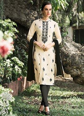 Cream N Black Cotton Churidar Suit