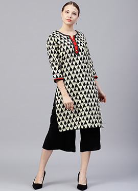 Cream N Black Printed Kurti