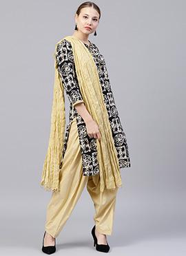 Cream N Black Printed Salwar Suit