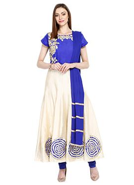 Cream N Blue Ankle Length Anarkali Suit