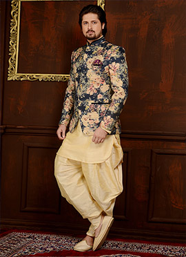 Cream N Blue Art Benarasi Silk Achkan Sherwani