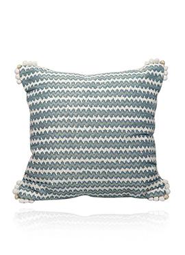 Cream N Blue Art Dupion Silk Cushion Cover