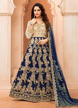 Cream N Blue Art silk Anarkali Suit