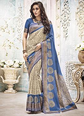 Cream N Blue Art Silk Printed Saree