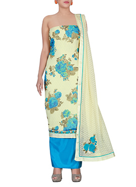 Cream N Blue Chiffon Brasso Dress Material
