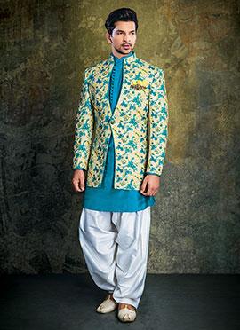 Cream N Blue Indowestern Sherwani