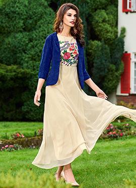 Cream N Blue Jacket Style Dress