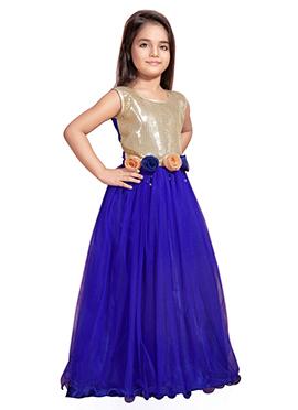 Cream N Blue Net Kids Anarkali Gown