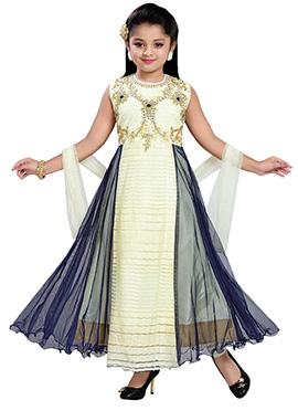 Cream N Blue Net Teens Anarkali Suit