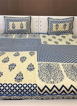 Cream N Blue Pure Cotton Bed Sheet