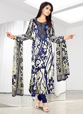 Cream N Blue Satin Churidar Suit