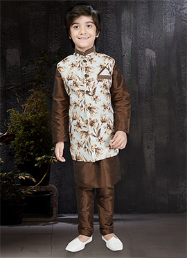 Cream N Brown Art Dupion Silk Kids Bandi Set
