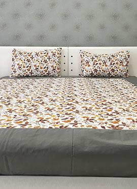 Cream N Brown Cotton Bed Sheet