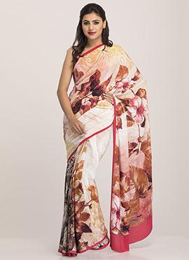 Cream N Brown Crepe Floral Printed Saree