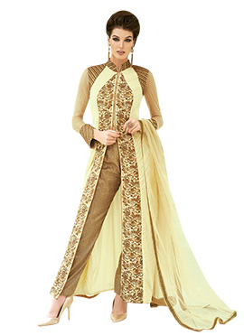 Cream N Brown Embroidered Straight Pant Suit
