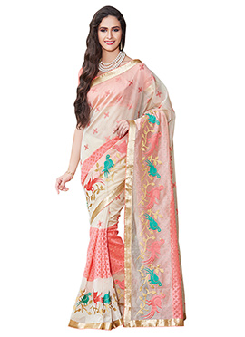 Cream N Coral Pink Supernet Embroidered Saree