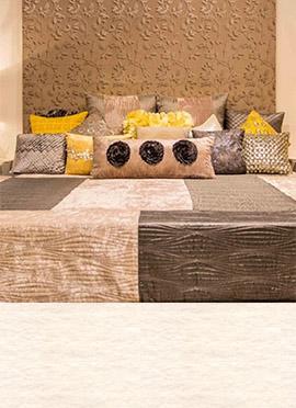 Cream N Dark Beige Bed Spread