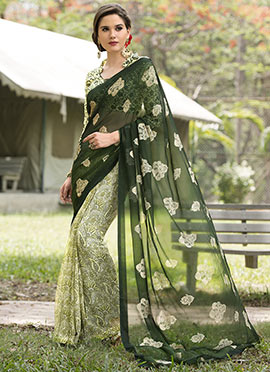 Cream N Dark Green Chiffon Half N Half Saree