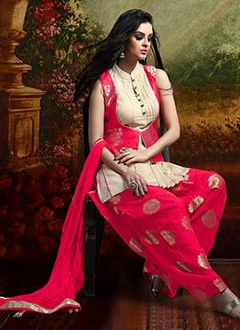 Cream N Dark Pink Jacket Style Salwar Suit