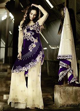 Cream N Dark Violet Palazzo Suit