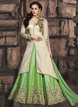 Cream N Green Abaya Style Anarkali Suit