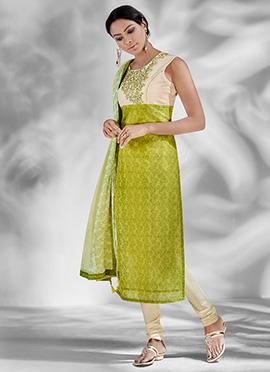 Cream N Green Chanderi Silk Churidar Suit