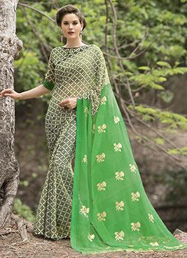 Cream N Green Chiffon Printed Saree