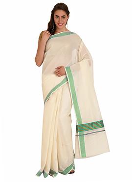 Cream N Green Cotton Kasavu Saree