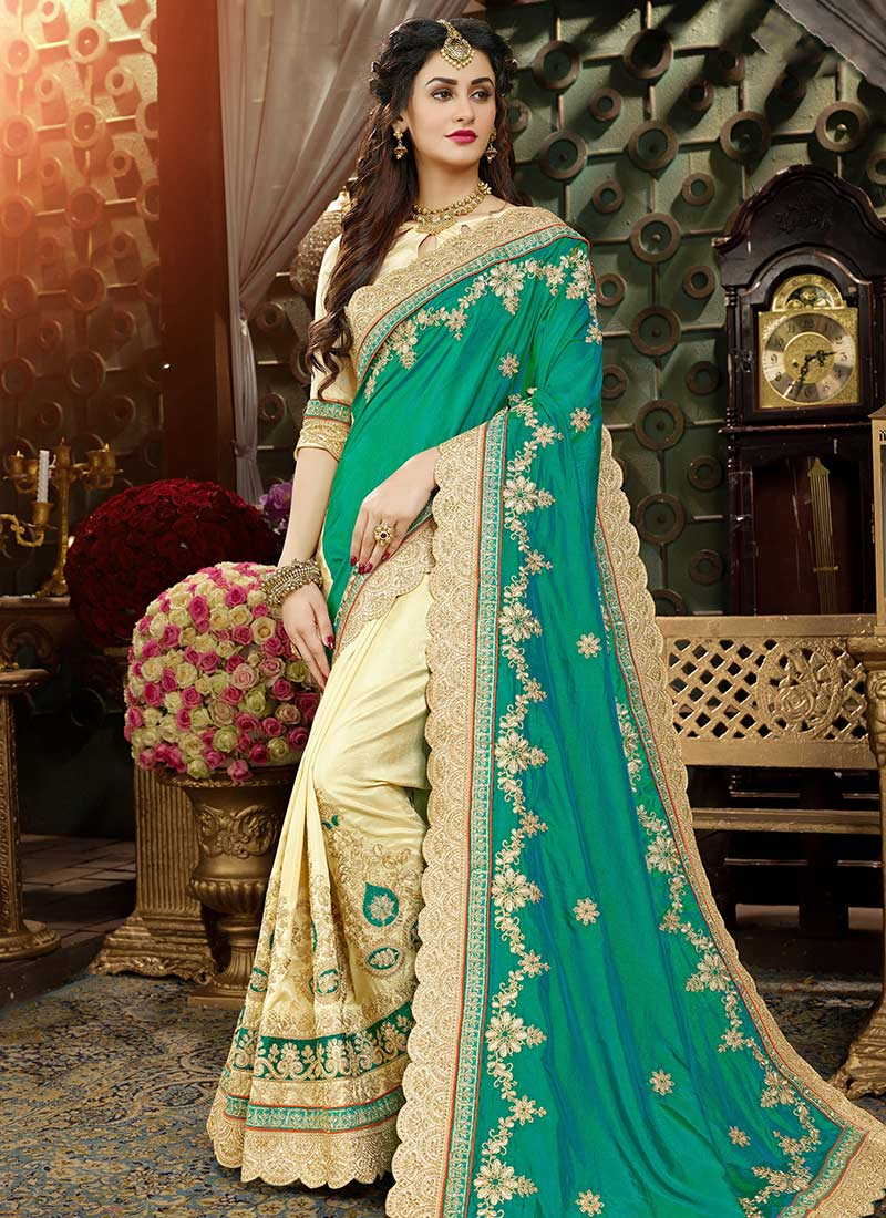 Indian Women Saree Wedding Wear Ethnic Embroidered Sari With Blouse 586