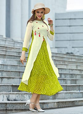 Cream N Green Georgette Kurti