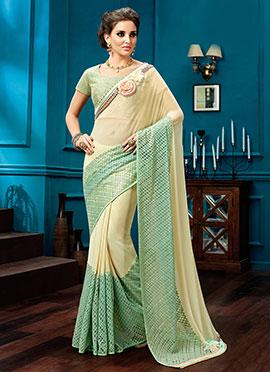 Cream N Green Georgette Net Saree