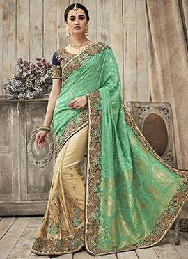 Cream N Green Half N Half Saree