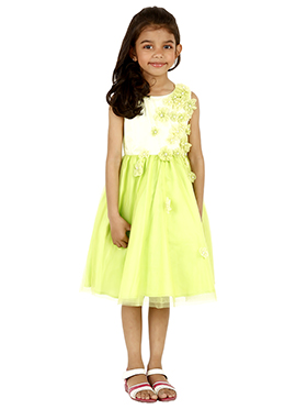 White N Green Net Kids Dress
