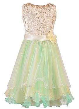 Cream N Green Net Velvet Kids Dress
