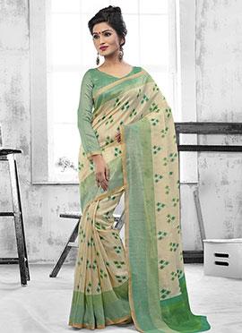 Cream N Green Printed Art Silk Saree