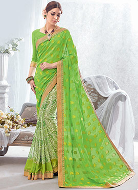 Cream N Green Printed N Zari Woven Half N Half Saree