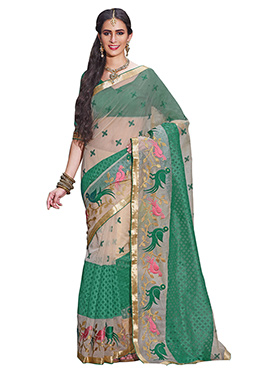 Cream N Green Supernet Embroidered Saree