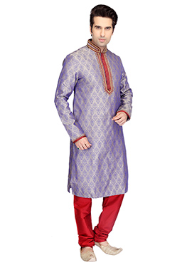Cream N Lavender Brocade Kurta Pyjama