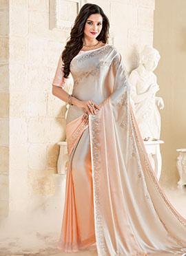 Cream N Light Peach Satin Saree