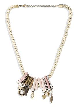 Cream N Light Pink Fancy Motifs Necklace