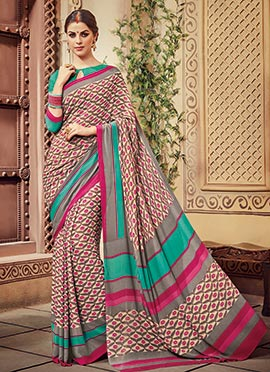 Cream N Magenta Floral Pattern Printed Saree