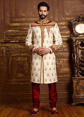 Cream N Maroon Benarasi Silk Chipkan Sherwani