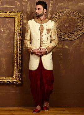 Cream N Maroon Benarasi Silk Classic Sherwani